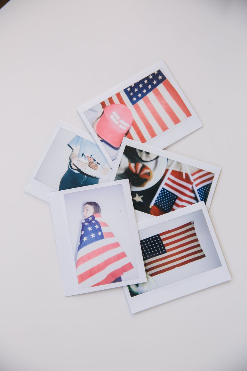 us a flag on white wall