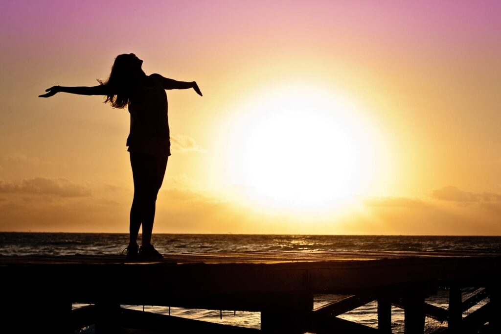 silhouette photo of woman against during golden hour